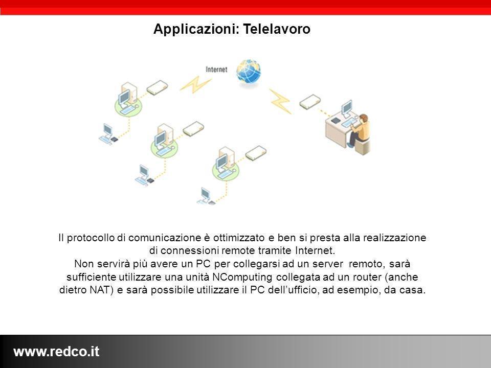 www.redco.it Il protocollo di comunicazione è ottimizzato e ben si presta alla realizzazione di connessioni remote tramite Internet.