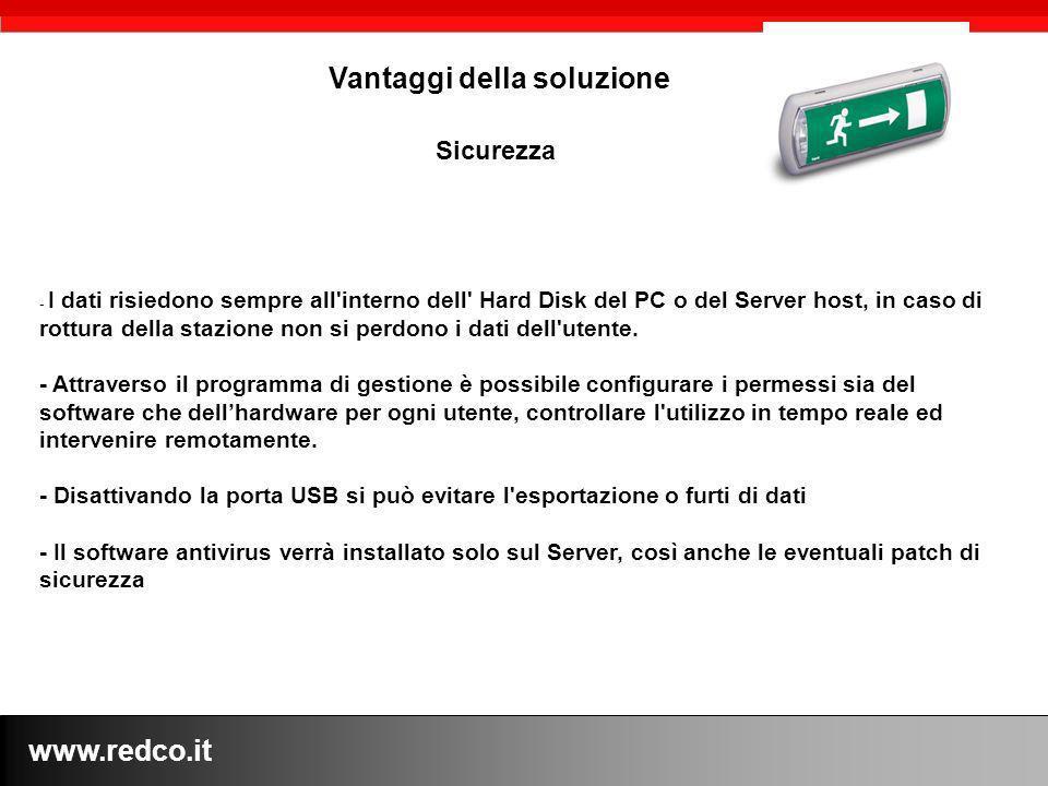 www.redco.it Vantaggi della soluzione - I dati risiedono sempre all interno dell Hard Disk del PC o del Server host, in caso di rottura della stazione non si perdono i dati dell utente.