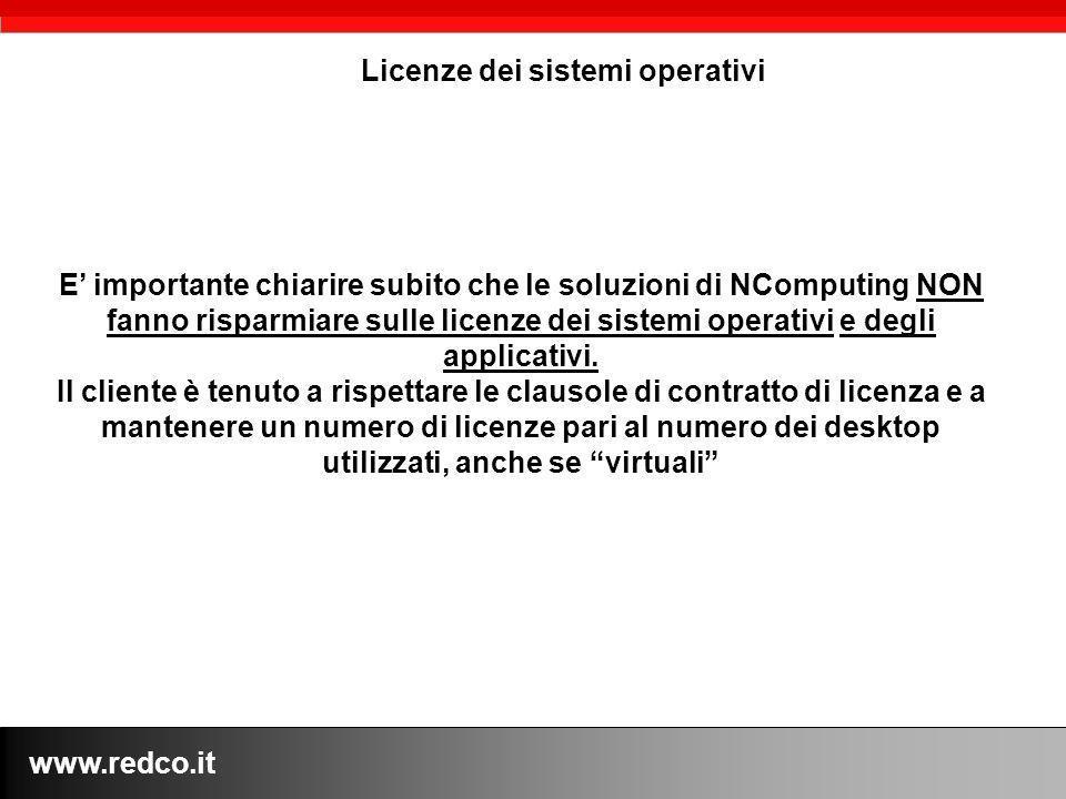www.redco.it Licenze dei sistemi operativi E importante chiarire subito che le soluzioni di NComputing NON fanno risparmiare sulle licenze dei sistemi operativi e degli applicativi.