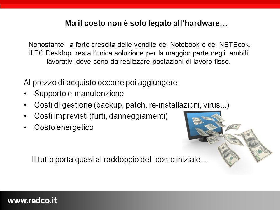 www.redco.it Nonostante la forte crescita delle vendite dei Notebook e dei NETBook, il PC Desktop resta lunica soluzione per la maggior parte degli ambiti lavorativi dove sono da realizzare postazioni di lavoro fisse.