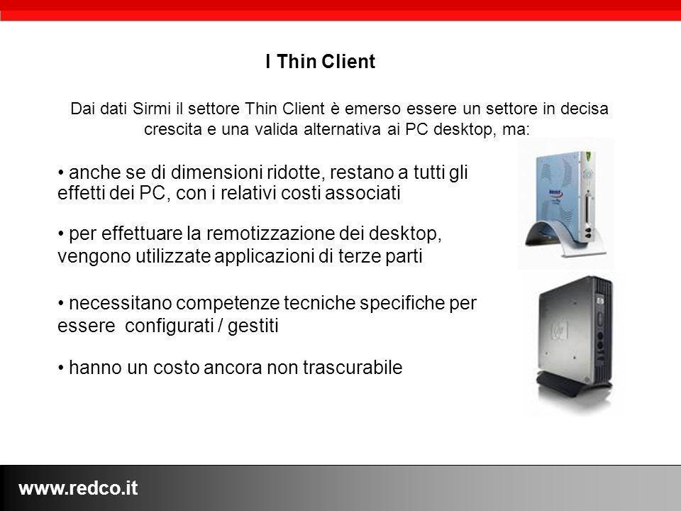 www.redco.it Dai dati Sirmi il settore Thin Client è emerso essere un settore in decisa crescita e una valida alternativa ai PC desktop, ma: l Thin Cl
