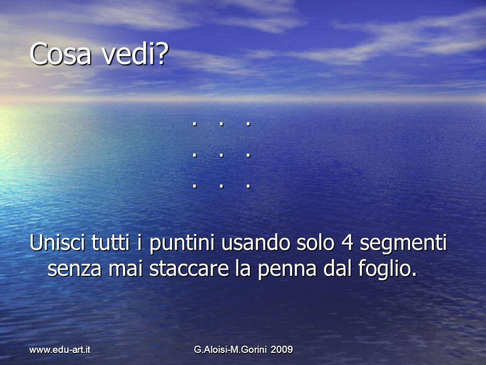 www.edu-art.itG.Aloisi-M.Gorini 2009 Cosa vedi?...... Unisci tutti i puntini usando solo 4 segmenti senza mai staccare la penna dal foglio.
