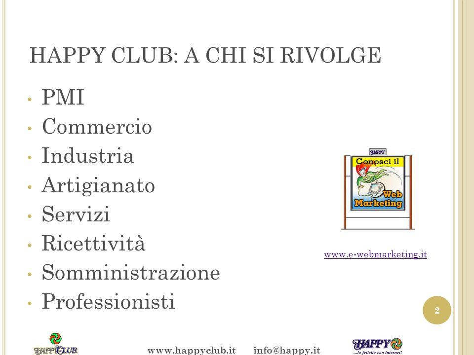 HAPPY CLUB: A CHI SI RIVOLGE PMI Commercio Industria Artigianato Servizi Ricettività Somministrazione Professionisti 2 www.e-webmarketing.it www.happyclub.it info@happy.it