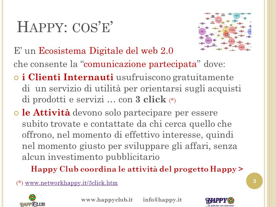 H APPY : COS E E un Ecosistema Digitale del web 2.0 che consente la comunicazione partecipata dove: i Clienti Internauti usufruiscono gratuitamente di