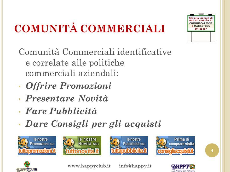 COMUNITÀ COMMERCIALI Comunità Commerciali identificative e correlate alle politiche commerciali aziendali: Offrire Promozioni Presentare Novità Fare P