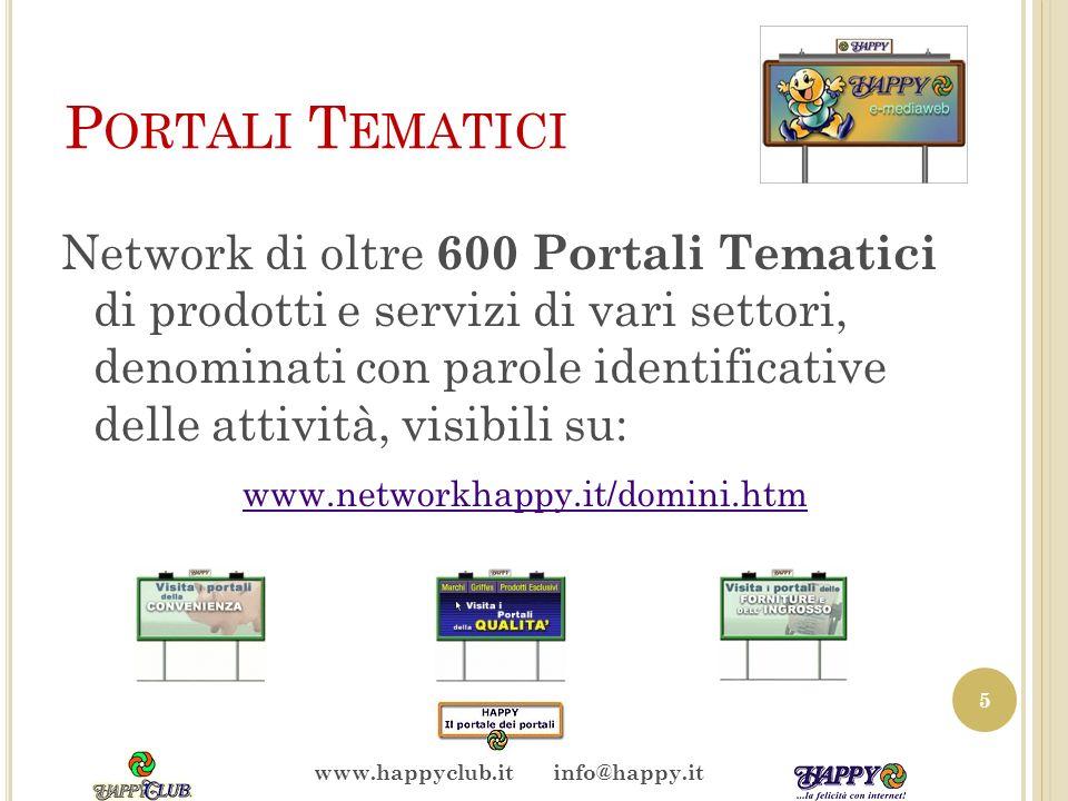 P ORTALI T EMATICI Network di oltre 600 Portali Tematici di prodotti e servizi di vari settori, denominati con parole identificative delle attività, visibili su: www.networkhappy.it/domini.htm 5 www.happyclub.it info@happy.it