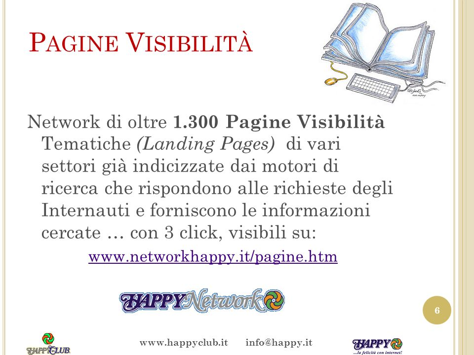 S ERVIZI W EB … dai Servizi di Registrar alla creazione e concessione del sito fai da te (*) personalizzato, autogestibile dallutente … per fare tutto autonomamente (*) www.sitofaidate.itwww.sitofaidate.it 7 www.happyclub.it info@happy.it