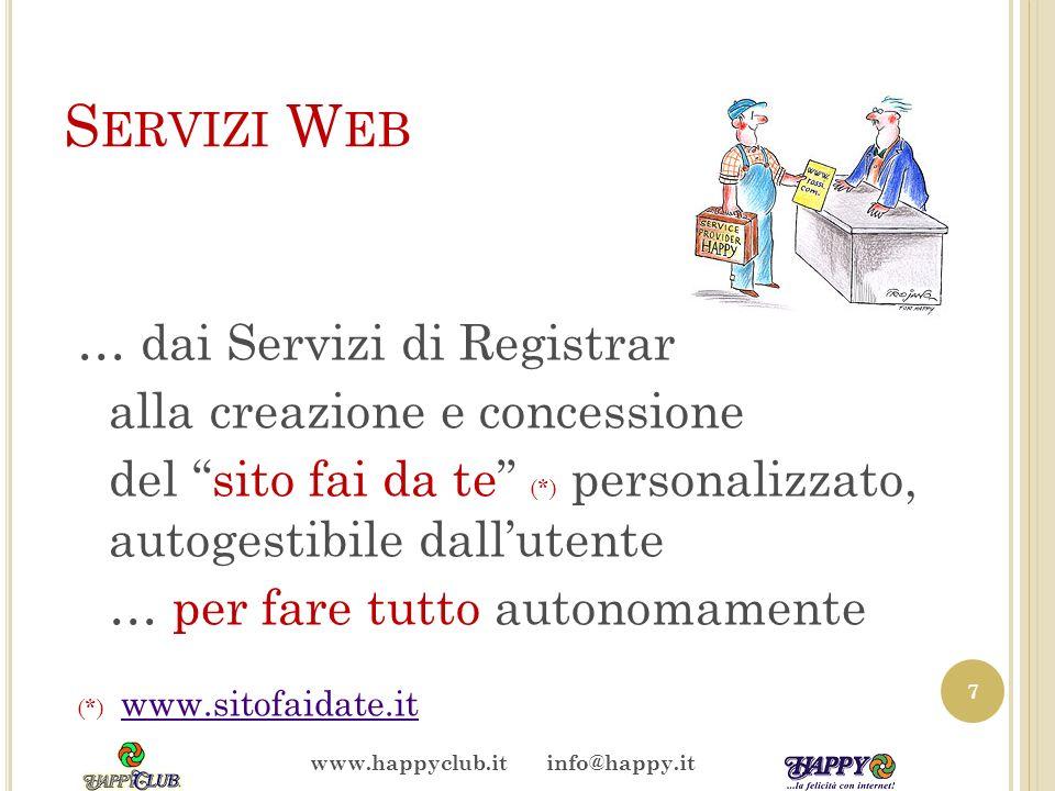 S ERVIZI W EB … dai Servizi di Registrar alla creazione e concessione del sito fai da te (*) personalizzato, autogestibile dallutente … per fare tutto