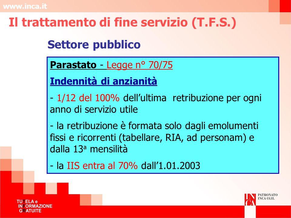 www.inca.it Parastato - Legge n° 70/75 Indennità di anzianità - 1/12 del 100% dellultima retribuzione per ogni anno di servizio utile - la retribuzion