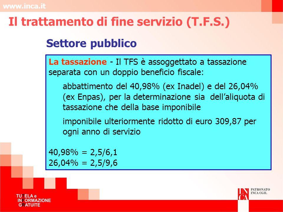 www.inca.it La tassazione - Il TFS è assoggettato a tassazione separata con un doppio beneficio fiscale: abbattimento del 40,98% (ex Inadel) e del 26,