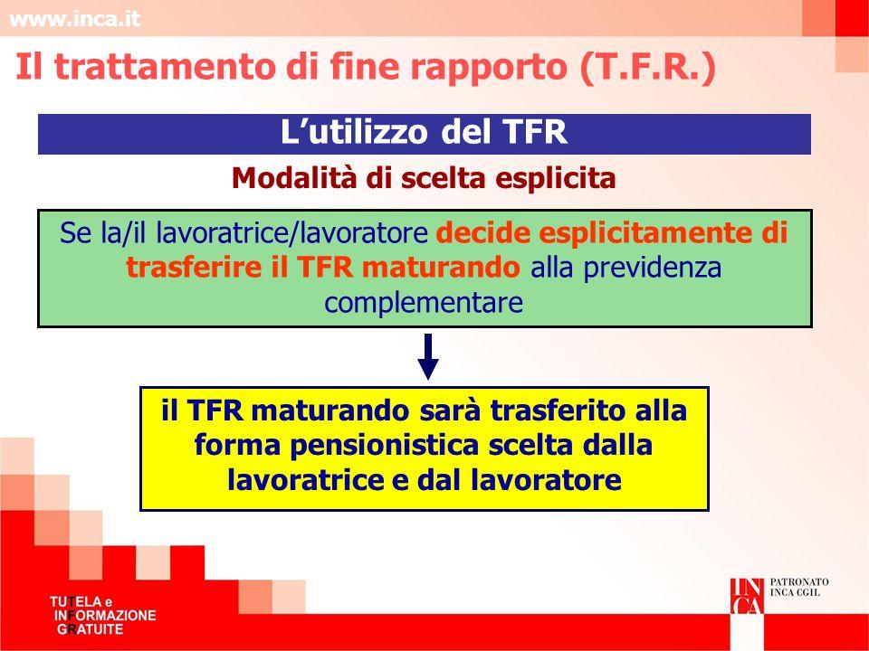 www.inca.it Modalità di scelta esplicita Se la/il lavoratrice/lavoratore decide esplicitamente di trasferire il TFR maturando alla previdenza compleme