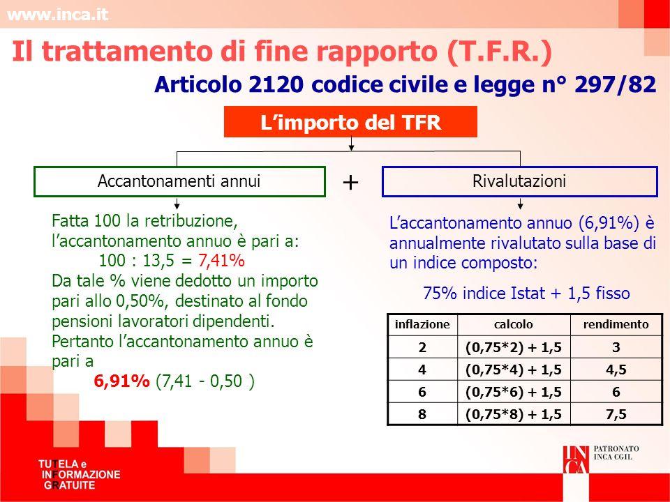 www.inca.it Fatta 100 la retribuzione, laccantonamento annuo è pari a: 100 : 13,5 = 7,41% Da tale % viene dedotto un importo pari allo 0,50%, destinat