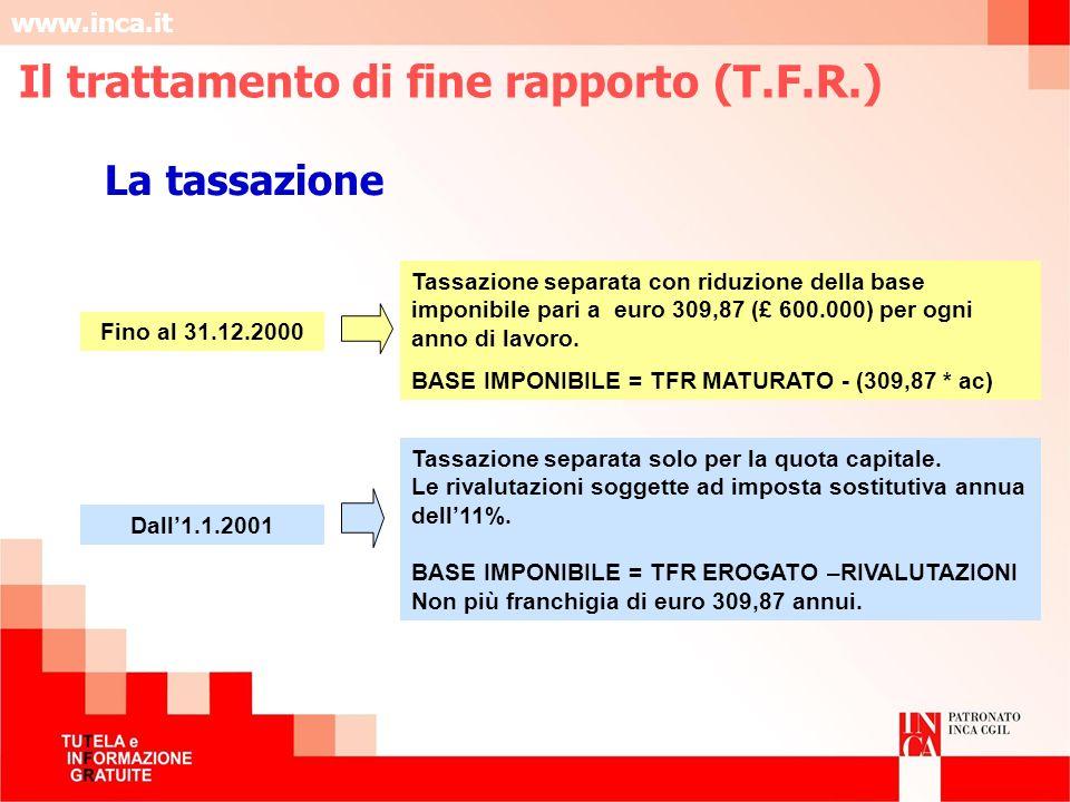 www.inca.it La tassazione Fino al 31.12.2000 Tassazione separata con riduzione della base imponibile pari a euro 309,87 (£ 600.000) per ogni anno di l
