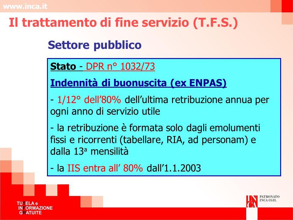 www.inca.it Settore pubblico Stato - DPR n° 1032/73 Indennità di buonuscita (ex ENPAS) - 1/12° dell80% dellultima retribuzione annua per ogni anno di