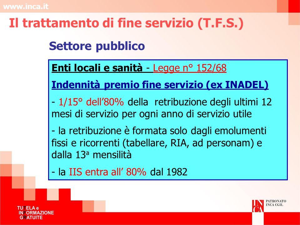 www.inca.it Enti locali e sanità - Legge n° 152/68 Indennità premio fine servizio (ex INADEL) - 1/15° dell80% della retribuzione degli ultimi 12 mesi