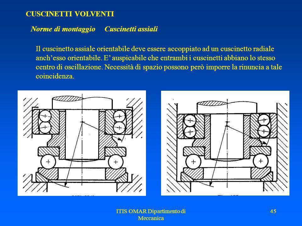 ITIS OMAR Dipartimento di Meccanica 44 CUSCINETTI VOLVENTI Norme di montaggio Cuscinetti assiali Quando non si possa fare affidamento su di una perfet