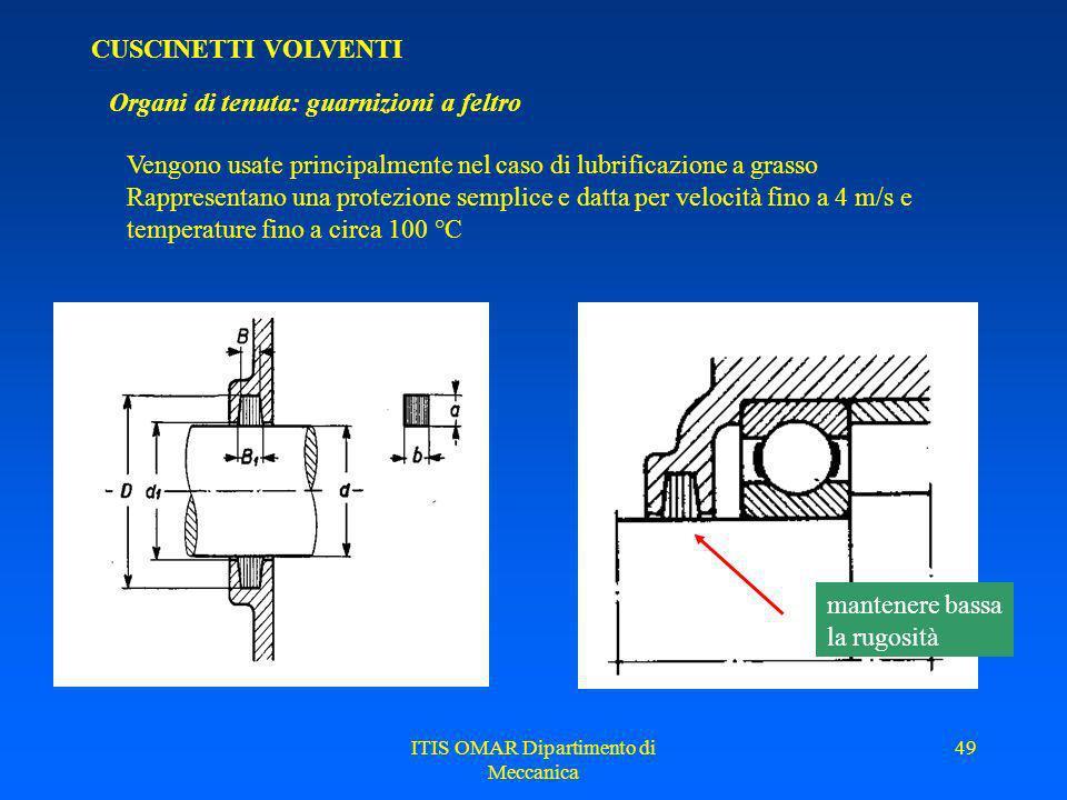 ITIS OMAR Dipartimento di Meccanica 48 CUSCINETTI VOLVENTI Lubrificazione Criterio di scelta del tipo di lubrificazione (solo orientativo) Per cuscine