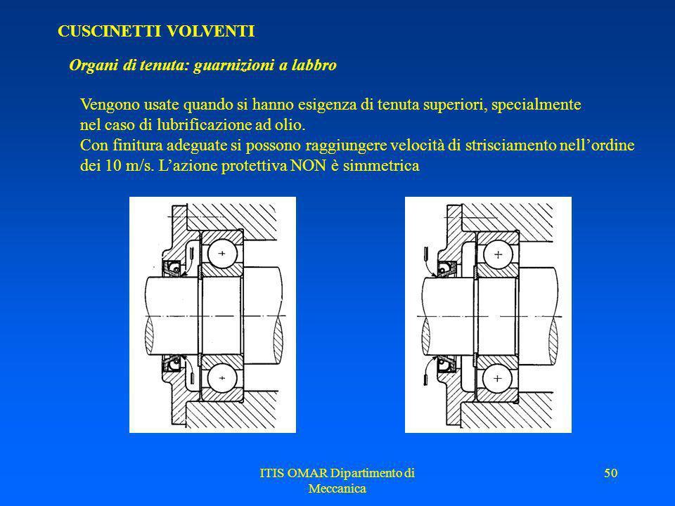 ITIS OMAR Dipartimento di Meccanica 49 CUSCINETTI VOLVENTI Organi di tenuta: guarnizioni a feltro Vengono usate principalmente nel caso di lubrificazi