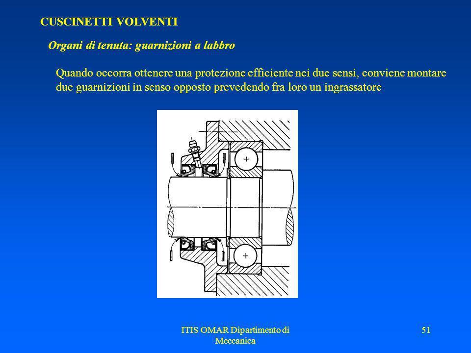 ITIS OMAR Dipartimento di Meccanica 50 CUSCINETTI VOLVENTI Organi di tenuta: guarnizioni a labbro Vengono usate quando si hanno esigenza di tenuta sup