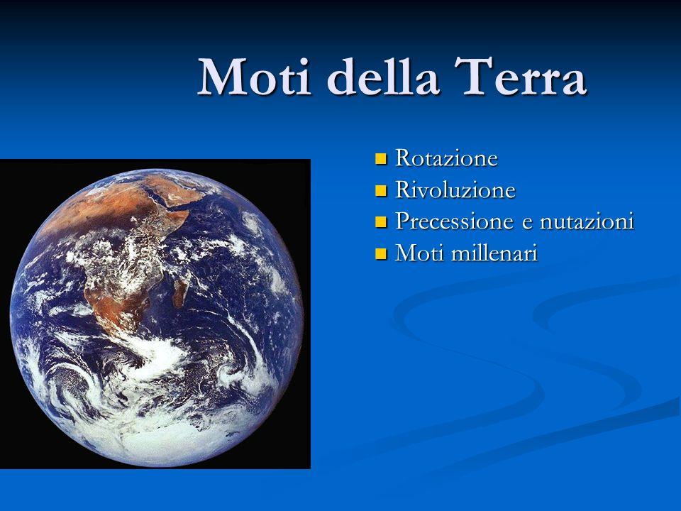 Moti della Terra Rotazione Rotazione Rivoluzione Rivoluzione Precessione e nutazioni Precessione e nutazioni Moti millenari Moti millenari