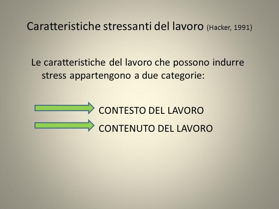 Caratteristiche stressanti del lavoro (Hacker, 1991) Le caratteristiche del lavoro che possono indurre stress appartengono a due categorie: CONTESTO D
