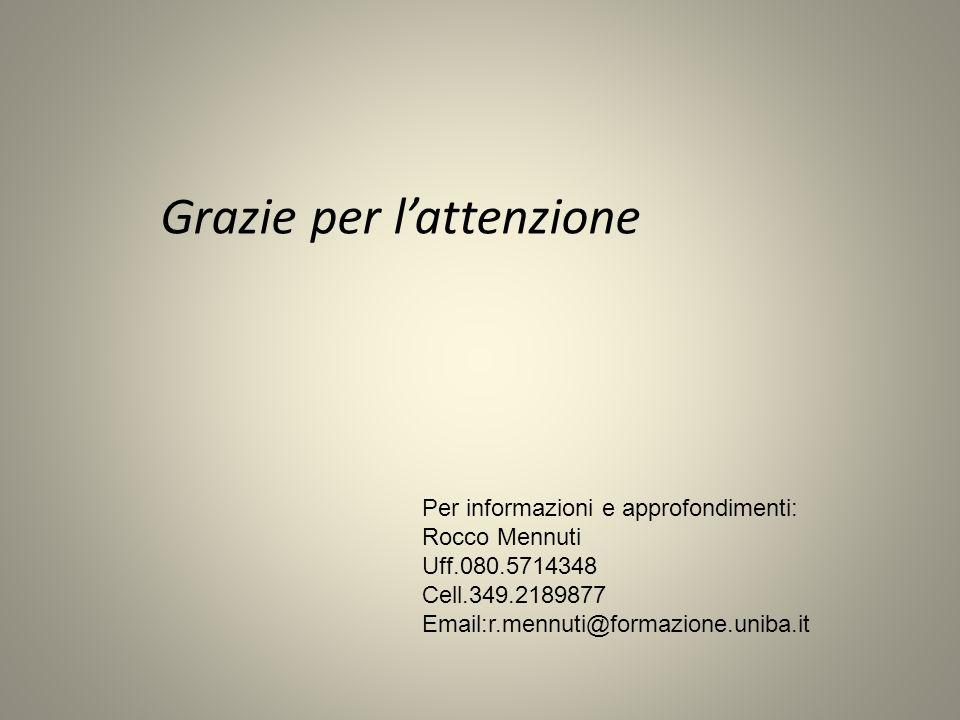 Grazie per lattenzione Per informazioni e approfondimenti: Rocco Mennuti Uff.080.5714348 Cell.349.2189877 Email:r.mennuti@formazione.uniba.it