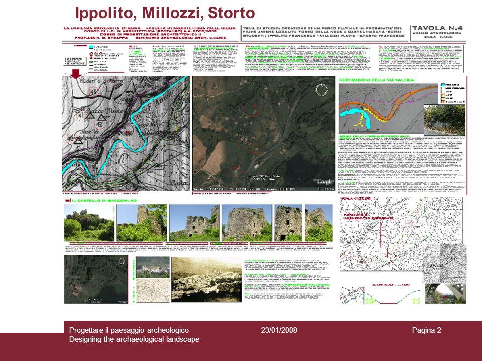 23/01/2008Progettare il paesaggio archeologico Designing the archaeological landscape Pagina 2 Ippolito, Millozzi, Storto