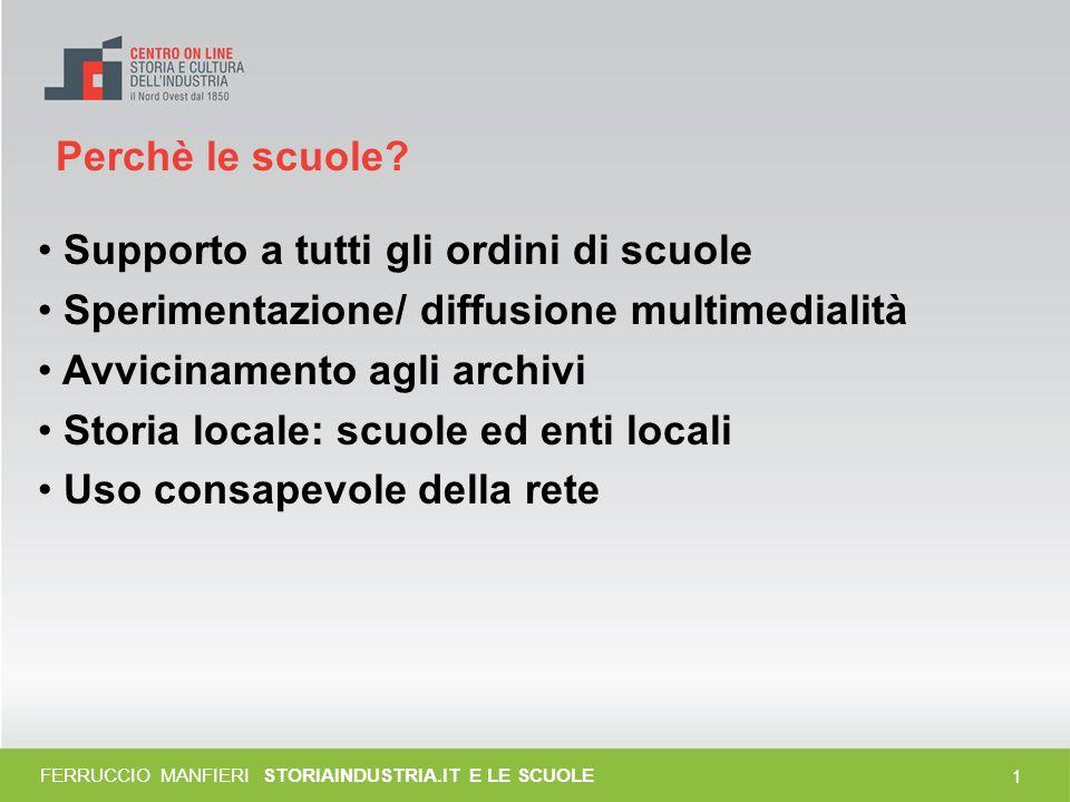 0 Storiaindustria.it e le scuole Ferruccio Manfieri Responsabile Istruzione – CSI-Piemonte