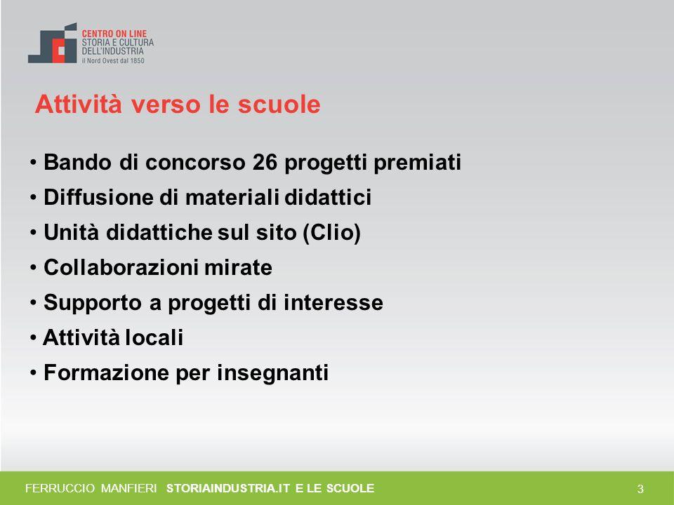 13 FERRUCCIO MANFIERI STORIAINDUSTRIA.IT E LE SCUOLE fonte: www.istitutocomprensivodiverzuolo.it/ Il fascismo: i bambini