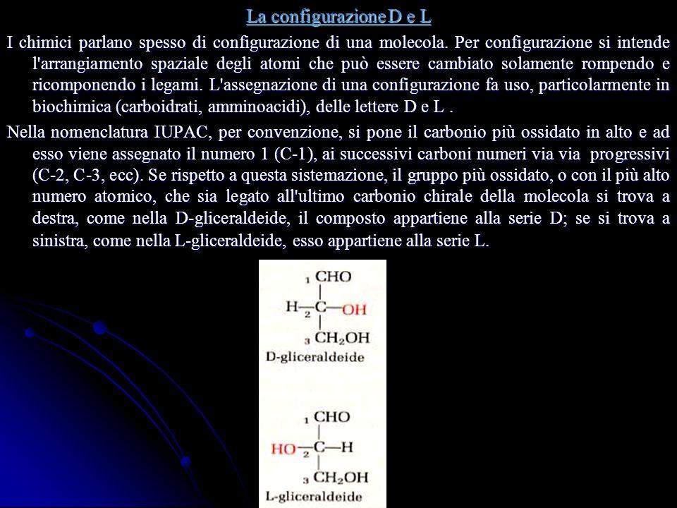 La configurazione D e L I chimici parlano spesso di configurazione di una molecola.