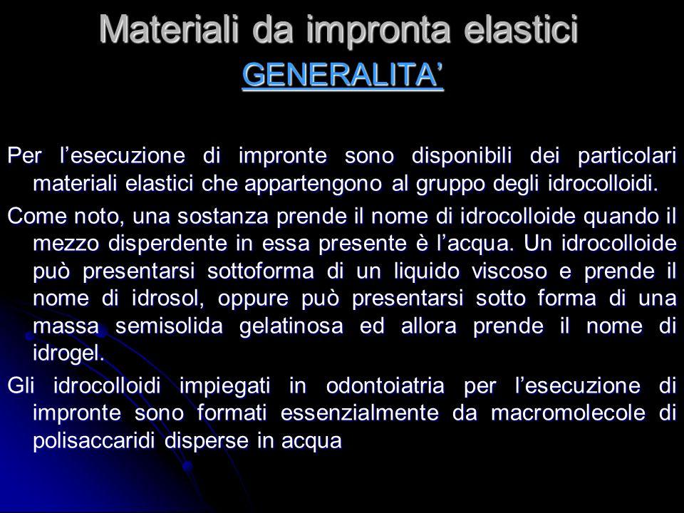 Materiali da impronta elastici GENERALITA Per lesecuzione di impronte sono disponibili dei particolari materiali elastici che appartengono al gruppo degli idrocolloidi.