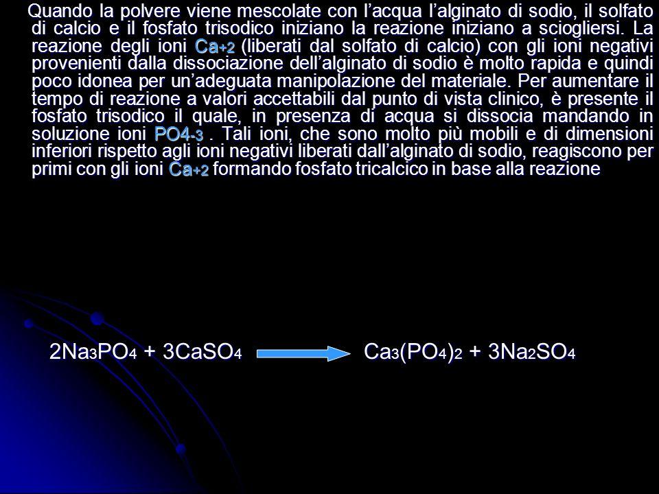 Quando la polvere viene mescolate con lacqua lalginato di sodio, il solfato di calcio e il fosfato trisodico iniziano la reazione iniziano a sciogliersi.