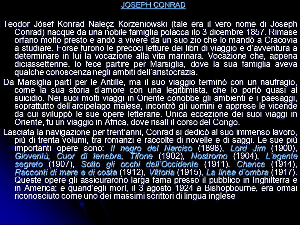 JOSEPH CONRAD JOSEPH CONRAD Teodor Jósef Konrad Naleçz Korzeniowski (tale era il vero nome di Joseph Conrad) nacque da una nobile famiglia polacca ilo 3 dicembre 1857.