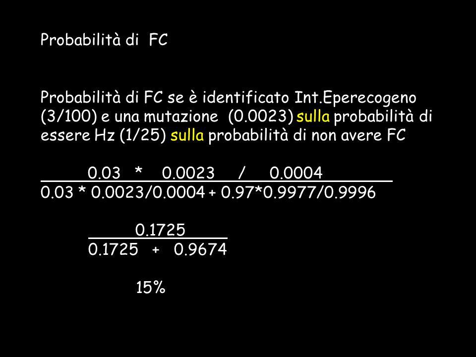 Probabilità di FC Probabilità di FC se è identificato Int.Eperecogeno (3/100) e una mutazione (0.0023) sulla probabilità di essere Hz (1/25) sulla pro