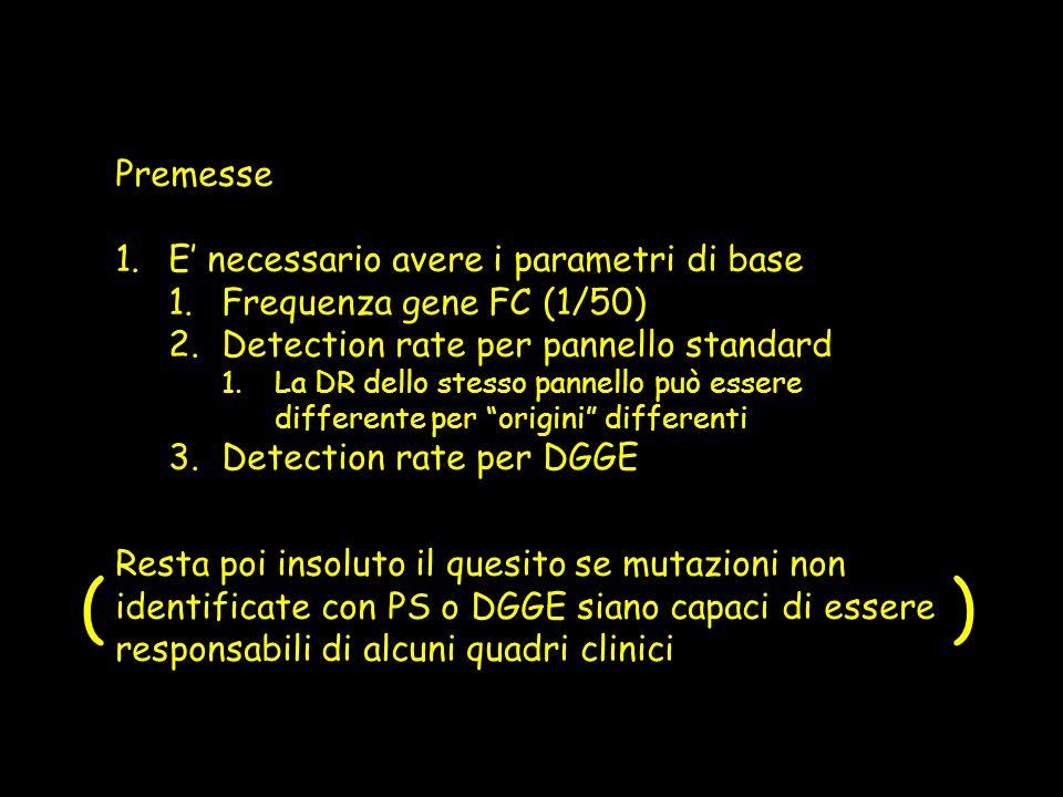 Premesse 1.E necessario avere i parametri di base 1.Frequenza gene FC (1/50) 2.Detection rate per pannello standard 1.La DR dello stesso pannello può