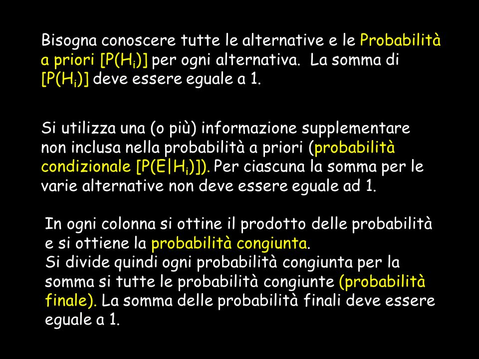 Bisogna conoscere tutte le alternative e le Probabilità a priori [P(H i )] per ogni alternativa. La somma di [P(H i )] deve essere eguale a 1. Si util