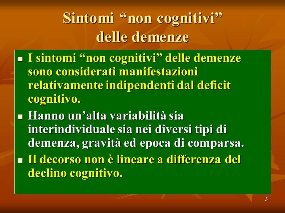3 Sintomi non cognitivi delle demenze I sintomi non cognitivi delle demenze sono considerati manifestazioni relativamente indipendenti dal deficit cog
