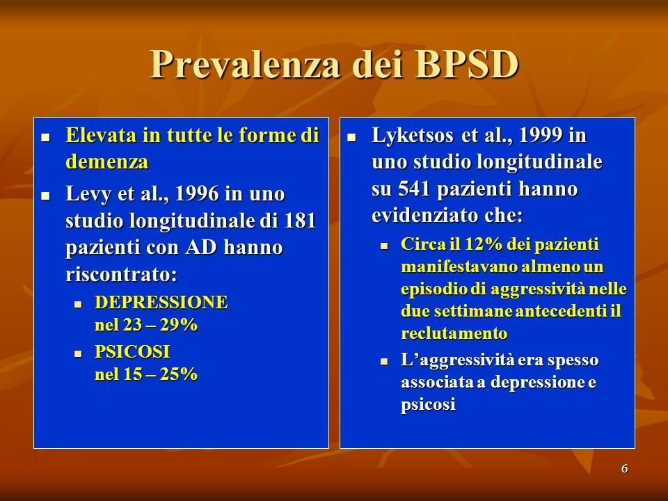 6 Prevalenza dei BPSD Elevata in tutte le forme di demenza Elevata in tutte le forme di demenza Levy et al., 1996 in uno studio longitudinale di 181 p