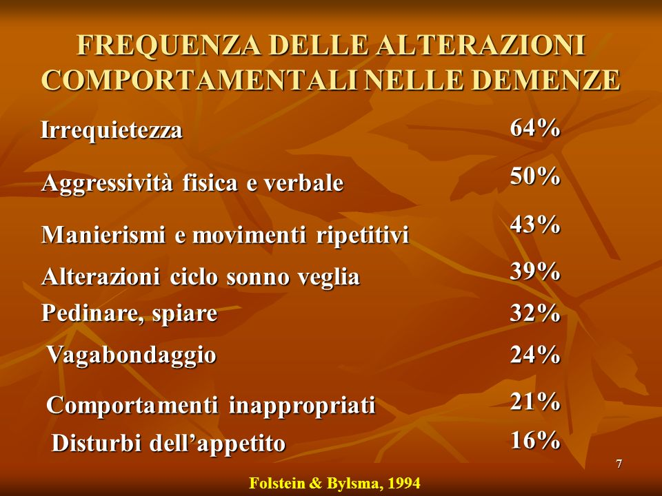 7 FREQUENZA DELLE ALTERAZIONI COMPORTAMENTALI NELLE DEMENZE Irrequietezza 64% Aggressività fisica e verbale 50% Manierismi e movimenti ripetitivi 43%