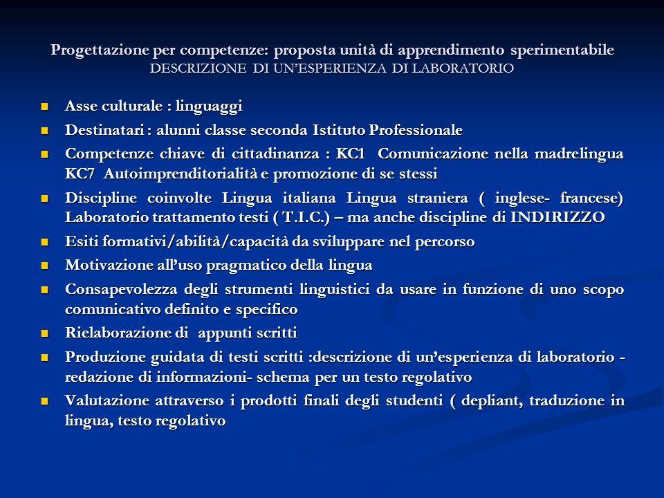 Progettazione per competenze: proposta unità di apprendimento sperimentabile DESCRIZIONE DI UNESPERIENZA DI LABORATORIO Asse culturale : linguaggi Ass