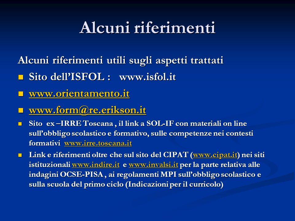 Alcuni riferimenti Alcuni riferimenti utili sugli aspetti trattati Sito dellISFOL : www.isfol.it Sito dellISFOL : www.isfol.it www.orientamento.it www