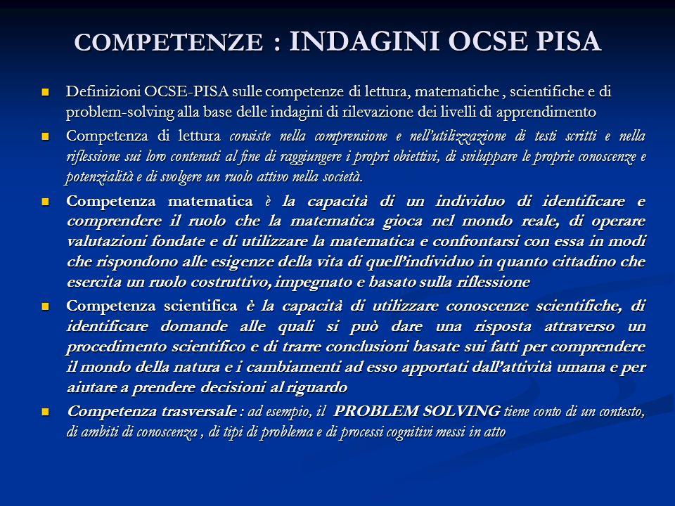 COMPETENZE : INDAGINI OCSE PISA Definizioni OCSE-PISA sulle competenze di lettura, matematiche, scientifiche e di problem-solving alla base delle inda