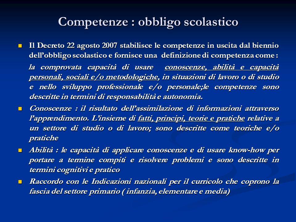 Competenze : obbligo scolastico Il Decreto 22 agosto 2007 stabilisce le competenze in uscita dal biennio dellobbligo scolastico e fornisce una definiz