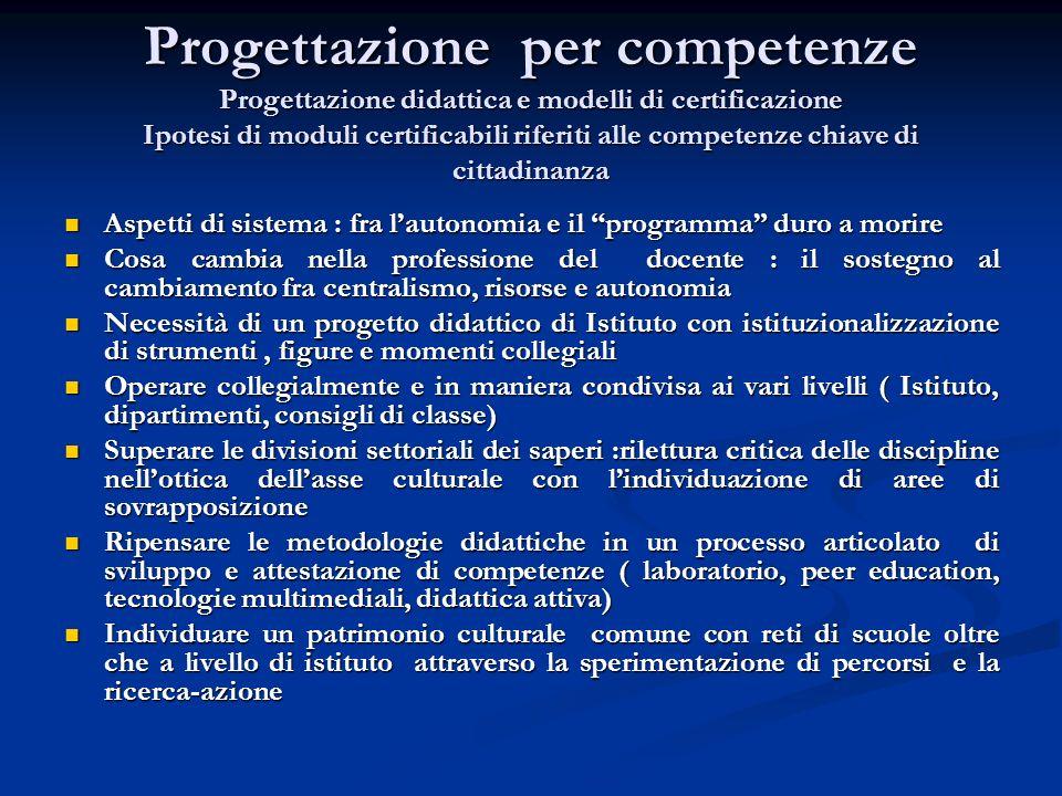 Progettazione per competenze Progettazione didattica e modelli di certificazione Ipotesi di moduli certificabili riferiti alle competenze chiave di ci