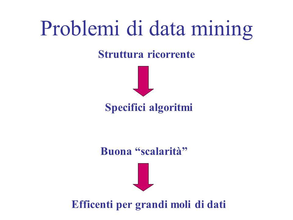 Problemi di data mining Struttura ricorrente Specifici algoritmi Buona scalarità Efficenti per grandi moli di dati