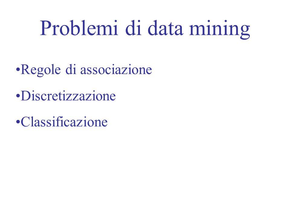 Problemi di data mining Regole di associazione Discretizzazione Classificazione
