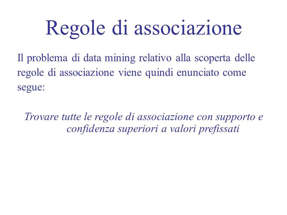 Regole di associazione Il problema di data mining relativo alla scoperta delle regole di associazione viene quindi enunciato come segue: Trovare tutte le regole di associazione con supporto e confidenza superiori a valori prefissati