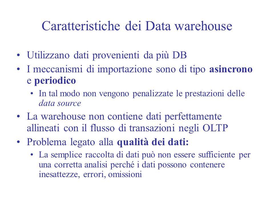 Caratteristiche dei Data warehouse Utilizzano dati provenienti da più DB I meccanismi di importazione sono di tipo asincrono e periodico In tal modo non vengono penalizzate le prestazioni delle data source La warehouse non contiene dati perfettamente allineati con il flusso di transazioni negli OLTP Problema legato alla qualità dei dati: La semplice raccolta di dati può non essere sufficiente per una corretta analisi perché i dati possono contenere inesattezze, errori, omissioni