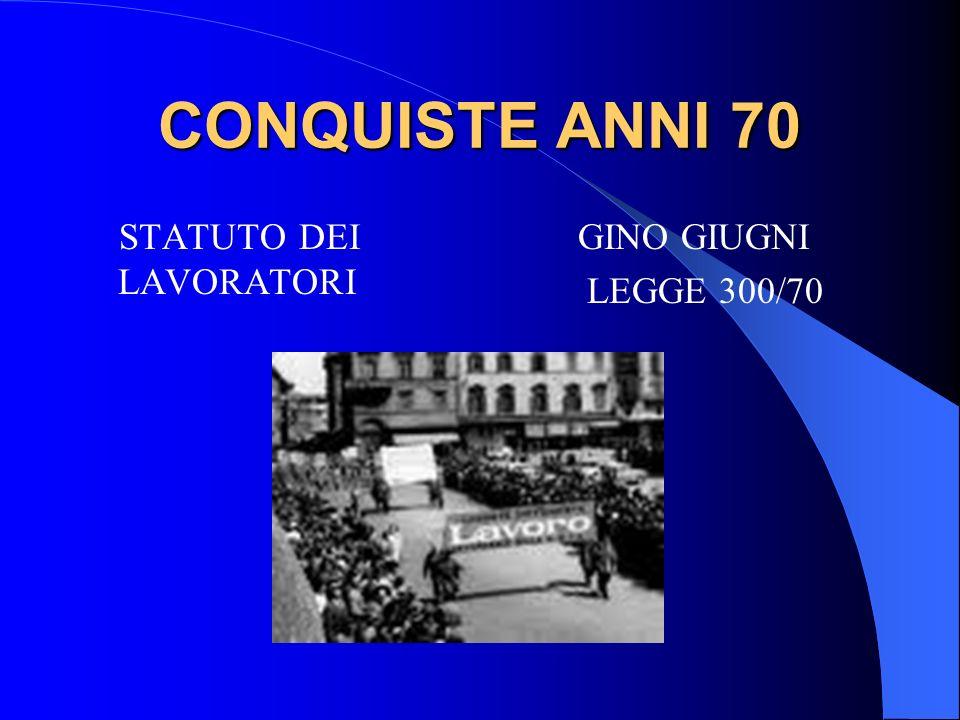 CONQUISTE ANNI 70 STATUTO DEI LAVORATORI GINO GIUGNI LEGGE 300/70