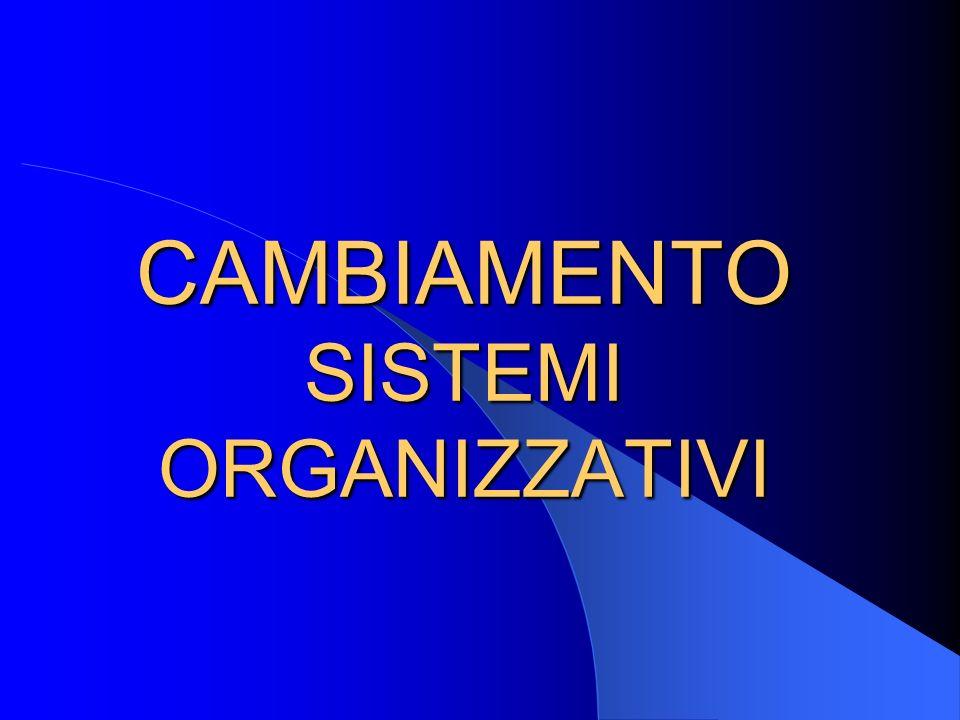 CAMBIAMENTO SISTEMI ORGANIZZATIVI